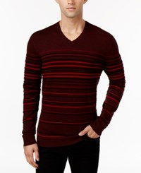 Alfani Men's Striped V Neck Sweater Only At Macy's Port Heather Combo