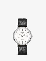 Longines L49224122 'S Presence Automatic Date Leather Strap Watch Black White
