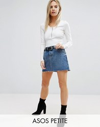 Asos Petite Denim Low Rise Pelmet Skirt In Freesia Mid Stonewash With Raw Hem Freesia Wash Blue