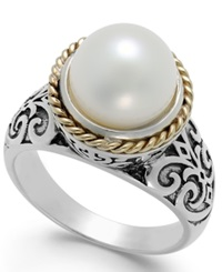 Macy's Cultured Freshwater Pearl Scroll Ring In 14K Gold And Sterling Silver 10Mm