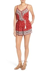 Women's Band Of Gypsies Mixed Print Surplice Romper Red Ivory