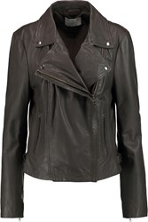 Muubaa Leather Biker Jacket Gray