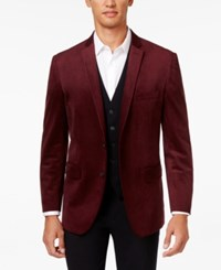 Inc International Concepts Men's Drew Classic Fit Velvet Blazer Only At Macy's Maroon