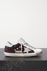 Golden Goose Superstar Distressed Glittered Leather Sneakers Pink