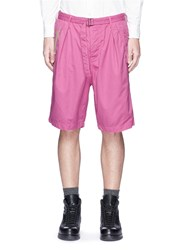 Sacai Belted Overdyed Cotton Shorts Pink