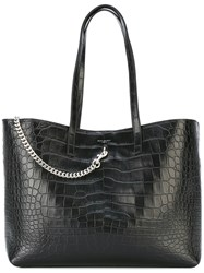 Saint Laurent Croc Tote Bag Women Calf Leather Metal One Size Black