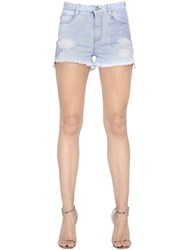 Ermanno Scervino Lace Patches Frayed Cotton Denim Shorts