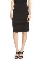 Ming Wang Stripe Knit Skirt Coffee Black