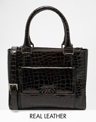 Ri2k Patent Leather Handheld Tote With Optional Shoulder Strap Black