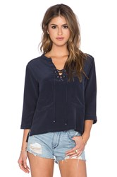 Gypsy 05 Lace Up Blouse Navy