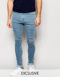 Reclaimed Vintage Super Skinny Jeans With Super Rips Blue