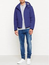 Aquascutum London Emmett Diamond Quilted Hooded Coat Blue Bright Blue