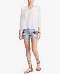Denim And Supply Ralph Lauren Lace Up Cotton Peasant Top White