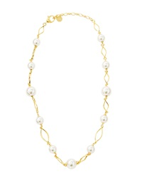 Majorica Golden Pearl Station Necklace