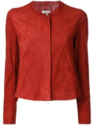 Desa Collection Zipped Jacket Women Suede 40 Red