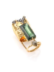 Alexis Bittar Elements Punk Labradorite Pyrite And Crystal Stacked Baguette Ring Gold Green