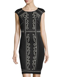 Jax Studded Cap Sleeve Sheath Dress Black