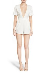 Women's Glamorous Plunge Short Sleeve Romper White