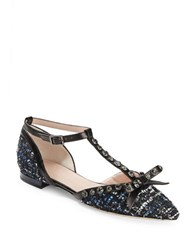 Kate Spade Becca Pointy Toe Rhinestone Tweed And Leather T Strap Flats Blue