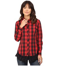 Rock And Roll Cowgirl Long Sleeve Snap B4s8382 Red Women's Clothing