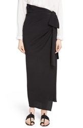 Saint Laurent 'S Side Tie Silk Crepe De Chine Maxi Skirt Noir