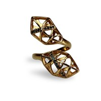 Bellus Domina Topaz Helix Shaped Ring Gold