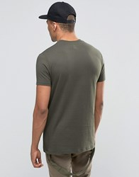 Asos Longline T Shirt With Wide Neck Trim And Military D Ring In Khaki Forest Night Green