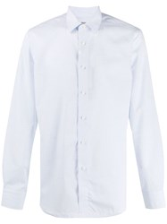 Canali Long Sleeve Fitted Shirt Blue
