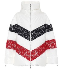 Moncler Gamme Rouge Oversized Lace Trimmed Down Jacket White