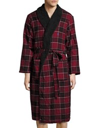 Original Penguin Fleece Lined Flannel Robe Red