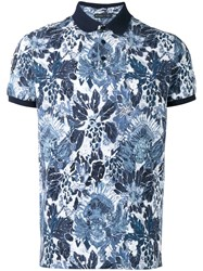 Etro Floral Print Polo Shirt Blue