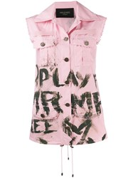 Mr And Mrs Italy Sleeveless Painted Jacket Pink