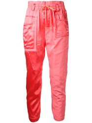 Haider Ackermann Patch Pocket Track Trousers Women Cotton Cupro 36 Pink Purple