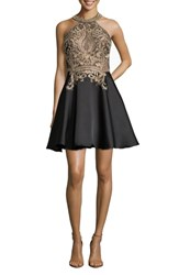 Xscape Evenings Embroidered Mikado Party Dress Black Gold