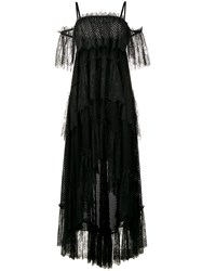 Philosophy Di Lorenzo Serafini Off Shoulder Lace Tiered Dress Black
