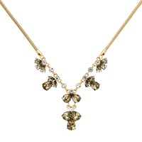 Monet Glass Crystal Statement Necklace Gold Multi