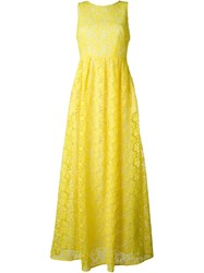 P.A.R.O.S.H. Flower Embellished Long Dress Yellow And Orange