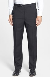 Men's Big And Tall Berle Self Sizer Waist Flat Front Wool Trousers Black