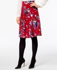 Eci Floral Print Pull On Skirt Red Base