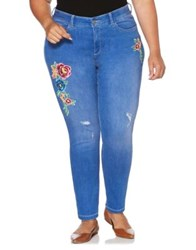 Rafaella Plus Distressed Floral Embroidered Skinny Jeans Atlantic