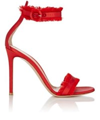 Gianvito Rossi Women's Fringed Portofino Ankle Strap Sandals Red