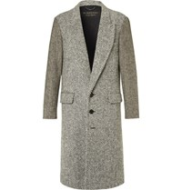 Burberry Runway Donegal Herringbone And Wool Tweed Coat Black