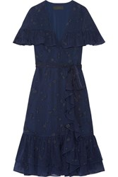 Ruffled Wrap Effect Fil Coupe Silk Chiffon Dress Midnight Blue