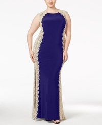 Xscape Evenings Plus Size Crochet Lace Column Gown Navy Gold