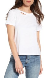 Women's Bp. Studded Ripped Baby Tee White