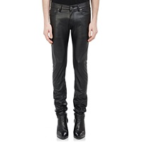 Leather Slim Fit Jeans Black