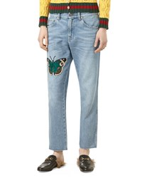 Gucci Embroidered Denim Pants Light Blue Multi