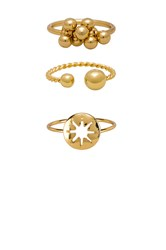 Ettika Bauble Ring Set Metallic Gold