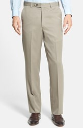 Men's Big And Tall Berle Self Sizer Waist Flat Front Wool Gabardine Trousers Tan