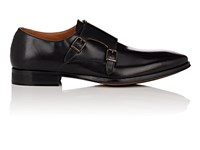 Barneys New York Leather Double Monk Strap Shoes Black